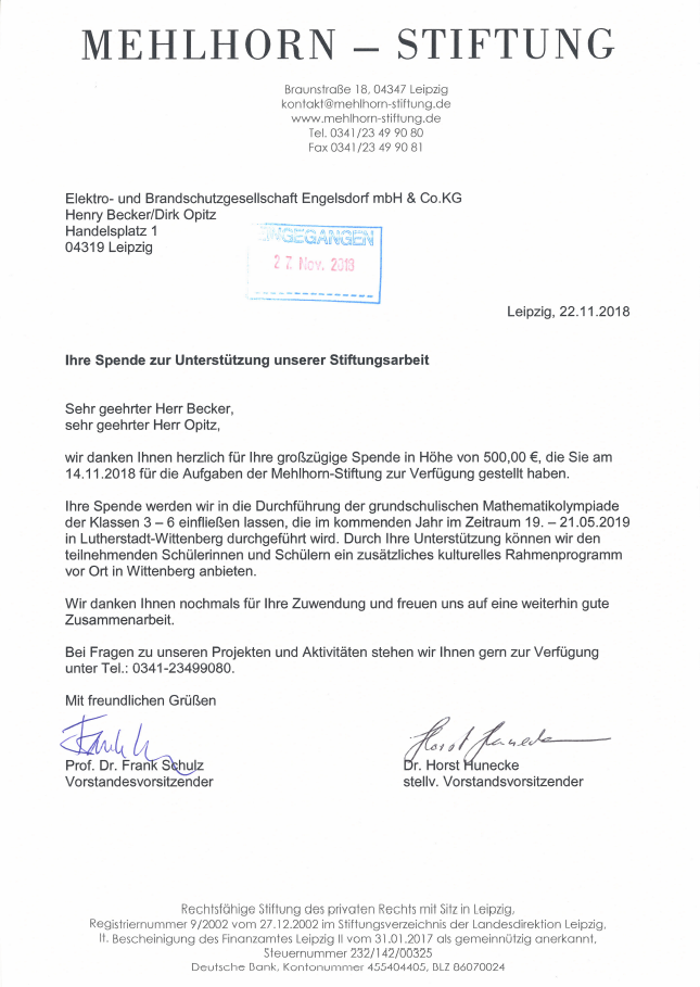 Sponsoring Mehlhorn-Stiftung